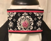 Black and white print with pink piping and bling pin on White Stock Tie, Dressage Stock Tie, Eventing Stock Tie, Horse Show Tie, Handmade