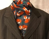 Four Fold Stock Tie, Foxhunting Stock Tie, Traditional Four Fold Stock Tie, Horse Show Stock Tie, Cute Red Foxes with Green Leaves on Grey