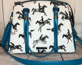 Satchel Handbag with Black and white equestrian horse jumpers and turquoise blue faux leather, Waterproof canvas lining, gunmetal hardware
