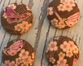 SET OF FOUR Fabric covered button magnets pink butterflies and flowers with metallic gold magnets 1 1/8 inch diameter