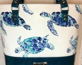 Shoulder Handbag Tote with Sea Turtles and blue/green glitter vinyl, Waterproof canvas lining, silver hardware