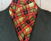 Fall colors plaid with gold detail Four Fold Stock Tie, 74 inch length, Foxhunting Stock Tie, Traditional Four Fold Stock Tie, horse show
