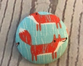 ONE Fabric covered button magnets sketched red fox on aqua - super cute magnet 1 7/8 inch diameter