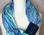 Infinity Scarf Batik Prints with Cork Fabric Cuff - Aqua, Blues, Purples, Varied Colors