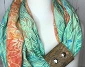 Infinity Scarf Batik Prints with Cork Fabric Cuff - Green, Orange, Rainbow Colors