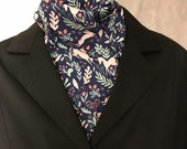 Four Fold Stock Tie, Foxhunting Traditional Stock Tie, Horse Show Stock Tie,  Pink Unicorns on Navy with Mint and Gold Details