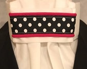 Black and White Dots Ribbon with Pink Piping on White Cotton Stock Tie, Dressage Stock Tie, Eventing Stock Tie, Horse Show Tie, Handmade