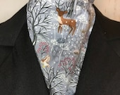 GREY winter woodland scene - Four Fold Stock Tie Foxhunting Traditional Stock Tie Horse Show Unique and Fun!!