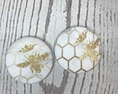 SET OF TWO Fabric covered button magnets crowned bees on white marble background - super cute magnets 1 7/8 inch diameter