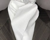 72 or 75 Tiny Swirls White on White Four Fold Stock Tie, Formal White Stock Tie, Traditional Foxhunting Stock Tie