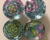 Fabric and Glass Magnet - Modern Floral blue, pink, green - set of four 1 1/8th inch diameter