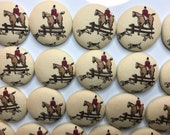 Fabric covered button magnets - vintage foxhunt scene fabric 1 1/2 inch diameter