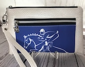 Eventing Dressage Jumping Horse Wristlet purse with front zip pocket, Royal Blue and White, Equestrian double zipper pouch, wristlet clutch
