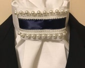 Navy Blue Satin and Pearl Trim on White Cotton Stock Tie - You can choose bling pin, Dressage Stock Tie, Eventing Stock