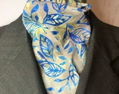 Four Fold Stock Tie, Foxhunting Traditional Stock Tie, Horse Show Stock Tie, Blue Leaves on beige green batik