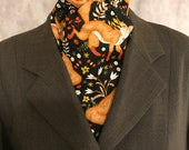 Four Fold Stock Tie, Foxhunting Traditional Stock Tie, Horse Show Stock Tie, Foxes in Autumn Night Black Forest