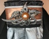 Rose Gold Copper with Grey Trim, Silver Grey Metallic Cotton Stock Tie, Pin Included, Dressage Stock Tie, Eventing Stock Tie