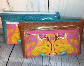 Bright chipmunk wristlet or clutch bag with blue or orange glitter vinyl. Zipper pouch with front zip pocket, double zipper clutch