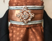 Rose Gold Satin Ribbon with trim on Copper and Metallic Rose Gold Fabric Tie Pin Inclded, Dressage Stock Tie, Eventing Stock Tie, Horse Show