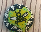 ONE Fabric covered button magnets blue green bee - super cute magnet 1 7/8 inch diameter