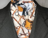 Four Fold Stock Tie, Foxhunting Traditional Stock Tie, Equestrian and horses, saddle, boots etc on cream background