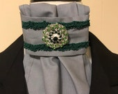 Grey with Hunter Green trim Stock Tie and green bling pin, Dressage Stock Tie, Eventing Stock Tie, Horse Show Tie, Pre-tied