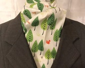 Four Fold Stock Tie, Foxhunting Traditional Stock Tie, Horse Show Stock Tie, Red Fox In Green Trees