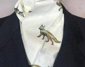 Four Fold Stock Tie, Foxhunting Traditional Stock Tie, Horse Show Stock Tie, Fox Silhouette Mountain Scene on Cream, Designer Cotton Fabric