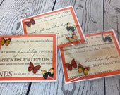 Friendship Friend Appreciation Handmade Card 4.25 x 5.5 Card with bright decoration, button butterflies, orange, yellow