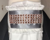 Grey Satin Ribbon with rose gold trim on White Tie, Dressage Stock Tie, Eventing Stock Tie, Horse Show