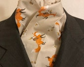 Four Fold Stock Tie, Foxhunting Traditional Stock Tie, Gnomes Riding Foxes, Fantastic Print- Quirky and Awesome
