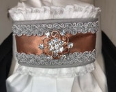 Rose Gold Satin Ribbon with trim on White Stock Tie Pin Included, Dressage Stock Tie, Eventing Stock Tie, Horse Show