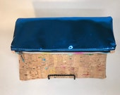Cork and blue mirror vinyl foldover clutch, cobalt blue mirror vinyl and natural cork with rainbow metallic details, handmade clutch