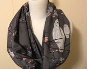 Infinity Scarf, Grey with owls, birds and flowers, Modern Designer Cotton Voile lovely soft silky fabric, very elegant