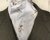 Four Fold Stock Tie, Foxhunting Traditional Stock Tie, Vintage Foxhunt Equestrian print on grey cotton.