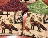 Set of Four Fox Coasters, cotton quilt coasters, low carbon footprint, green living