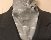 Four Fold Stock Tie, Foxhunting Traditional Stock Tie, white foxhunter and hounds on grey/beige background