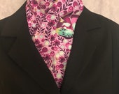 Four Fold Stock Tie, Foxhunting Traditional Stock Tie, Horse Show Stock Tie Unique and Fun!! Raspberry Napping Foxes Designer Cotton