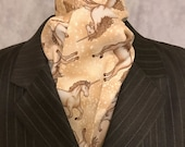 Four Fold Stock Tie, Foxhunting Traditional Stock Tie, Horse Show Stock Tie, Unicorns in Beige and Gold, Designer Fabric! Out of Print!