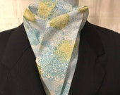 Four Fold Stock Tie, Foxhunting Stock Tie, Traditional Four Fold Stock Tie, Horse Show Stock Tie, Modern Floral in Blues and Greens