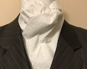 72 and 73 inch White on White Leafy Vines Four Fold Stock Tie, Formal White Stock Tie, Traditional Foxhunting Stock Tie