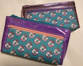 Zipper pouch with front zip pocket, Unicorn Donuts Donuticorns!!! Pink Mirror and Lavender Rainbow Glitter Vinyl,  Double zipper purse