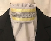 Soft Yellow and Silver on Light Grey Stock Tie, Dressage Stock Tie, Eventing Stock Tie, Horse Show Tie, Pre-tied, Handmade, Elegant Stock
