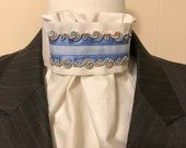 Cream Stock Tie with Blue ribbon, light blue, trim with soft pastel beachy colors, Dressage Stock Tie, Eventing Stock Tie, Horse Show Tie