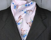 Four Fold Stock Tie, Foxhunting Traditional Stock Tie, Horse Show Stock Tie, horses galloping witj blue flowers soft blush pink background