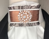 Rose Gold Satin Ribbon with trim on White Tie Pin Included, Dressage Stock Tie, Eventing Stock Tie, Horse Show