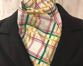 Four Fold Stock Tie, Foxhunting Traditional Stock Tie, Holiday Print Stock Tie, Red Green and Gold Plaid, Christmas Stock Tie