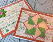 Happy Birthday Handmade Card 4.25 x 5.5 Orange Card with bright decoration, fun buttons, pinwheels