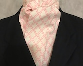 Four Fold Stock Tie, Foxhunting Traditional Stock Tie, Horse Show Stock Tie, Pink Lattice on Light Pink