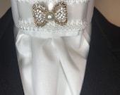 White Satin White braid trim on White Cotton Stock Tie, Premium Bling Stock Pin, Dressage Stock Tie, Eventing Stock Tie, GOLD bow tie pin